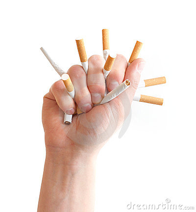 Crushing cigarettes Stock Photo