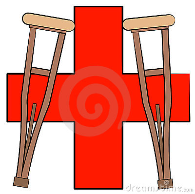 Crutches and first aid symbol