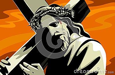 Cruz levando de Jesus