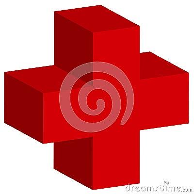 Cruz vermelha 3D
