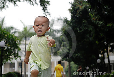 Crying asian baby