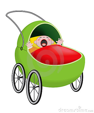 Crying baby in baby carriage