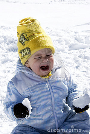 Crying baby on the snow