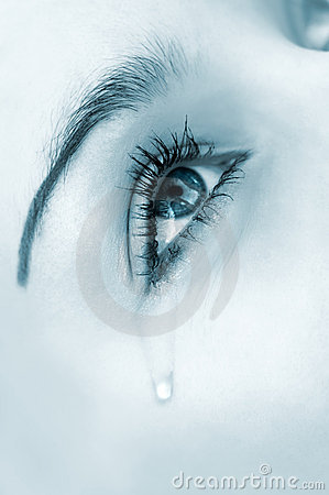 Free Crying Eye, Blue Highkey Version Stock Image - 3395051