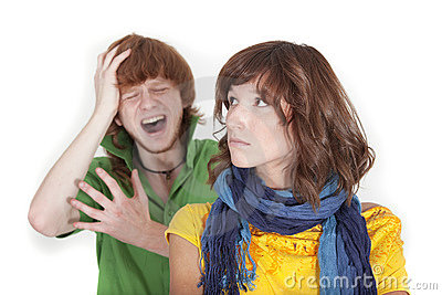 Crying man and unhappy woman