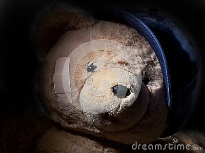 Crying Teddy Bear Hiding in Shadows