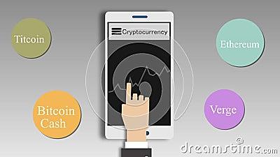 Cryptocurrencies-Preistafel auf mobilem Schirm 2d Animation stock footage