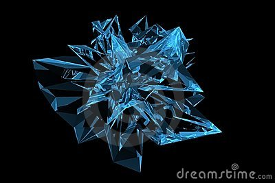 Crystal 3D rendered xray blue
