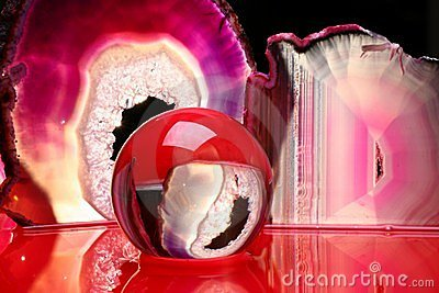 Crystal ball and agate slices