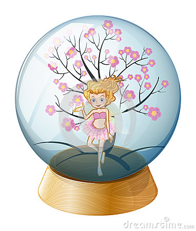 A crystal ball with a fairy and a cherry blossom tree