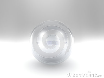 Crystal ball over white backdrop background