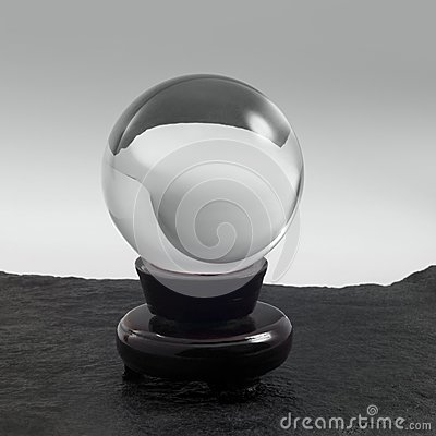 Crystal ball on stand