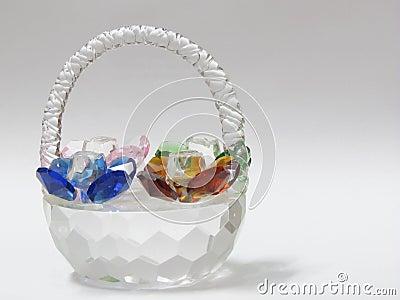 Glass precious stones basket