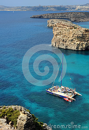 Crystal Bay, Comino island, Malta. Editorial Photography