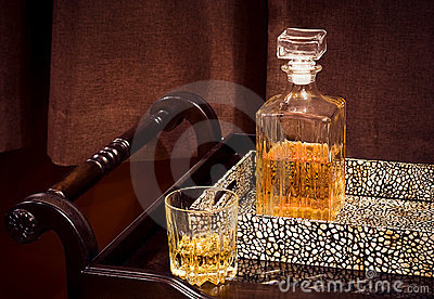 A crystal bottle of whiskey