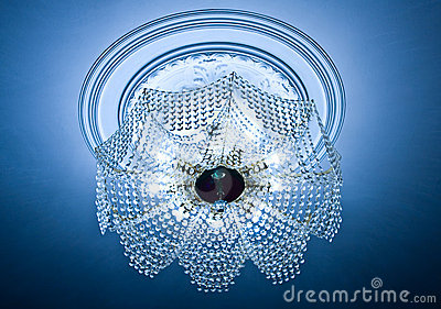 Crystal chandelier on a ceiling