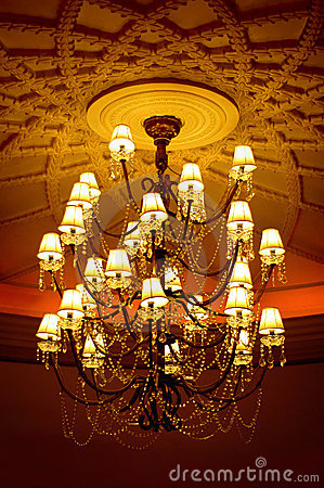 Crystal chandelier with emboss ceiling