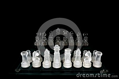 Crystal  chess board and figures