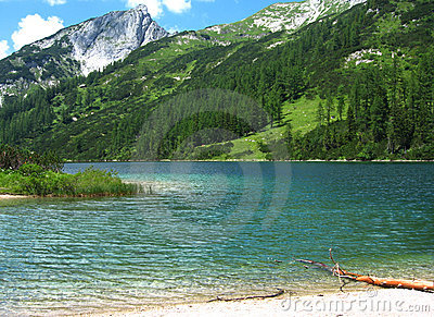 Crystal-clear alpine lake