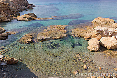 Crystal clear waters , Fyriplaka beach, Milos