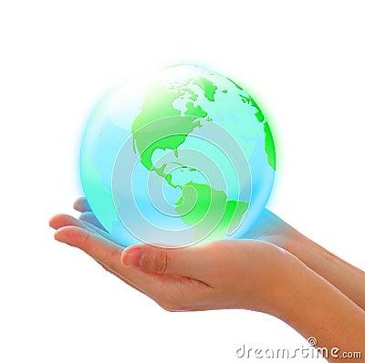 Crystal earth in hand