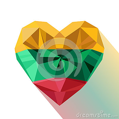 Free Crystal Gem Jewelry Heart With The Flag Of The Republic Of Lithuania. Stock Image - 84639891