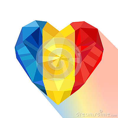 Free Crystal Gem Jewelry Heart With The Flag Of The Romania. Royalty Free Stock Photography - 84644867