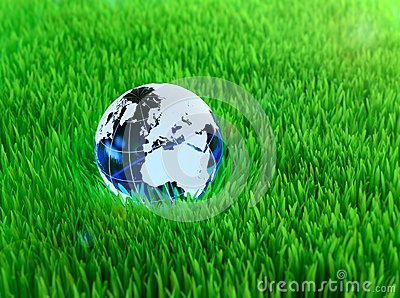 Crystal globe on grass
