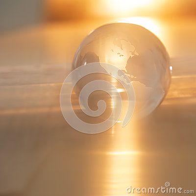 Crystal Globe With Orange Light