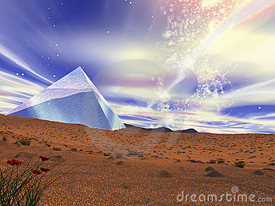 A crystal pyramid in the middle of desert.