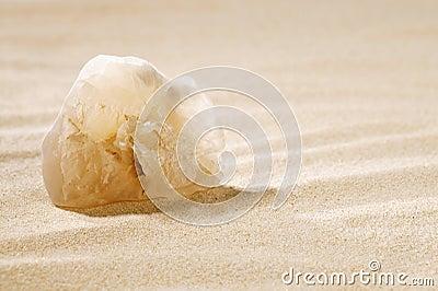 Crystal rock in sand dune , egypt, desert, sahara