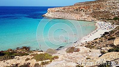 Crystal sea and amazing beach Island of Rabbits Beach  Lampedusa Italy stock footage