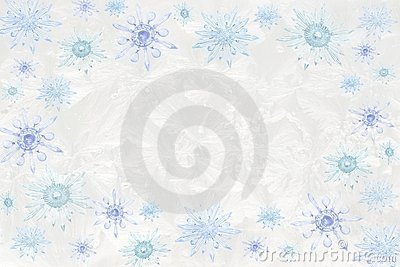 Crystal snowflakes on icy background