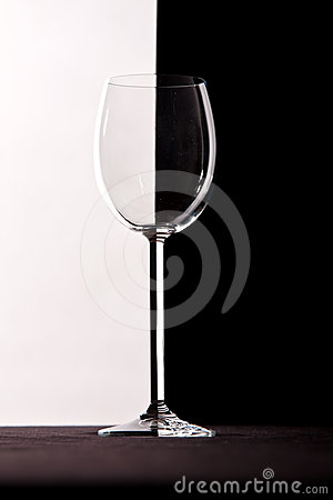Crystal wine glass with contrast background