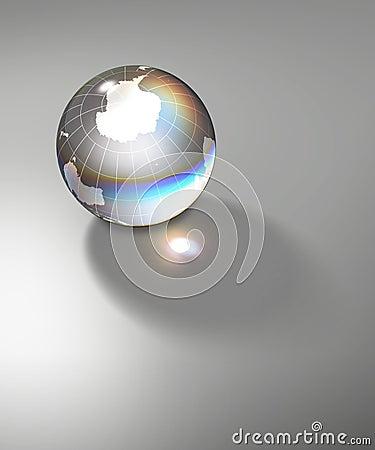 Crystal world globe south pole