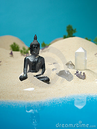 Free Crystals And Buddha Statuette Miniature Landscape Stock Photography - 22986882