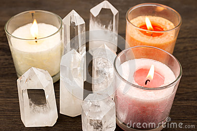 Crystals and color candles