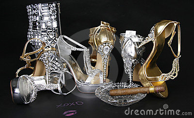 Crystals encrusted shoes collection and cigar