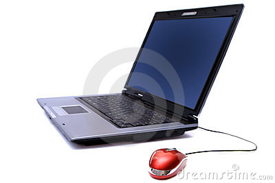 Cuaderno con el ratón del ordenador