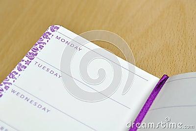 Cuaderno del diario con nombres de los días de la semana
