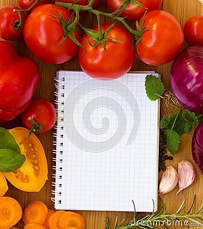 Cuaderno en blanco para las recetas