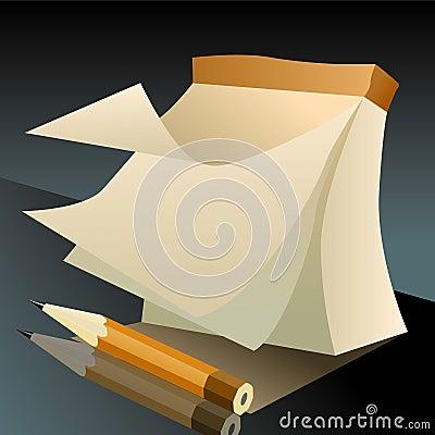 Cuaderno para los bosquejos y un lápiz