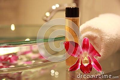 Cuarto de baño con la orquídea