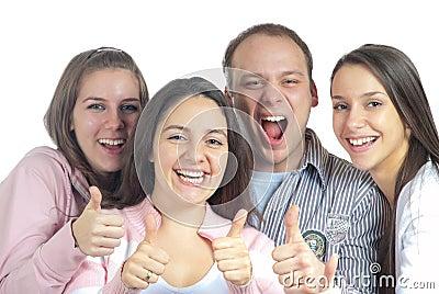Cuatro amigos satisfechos