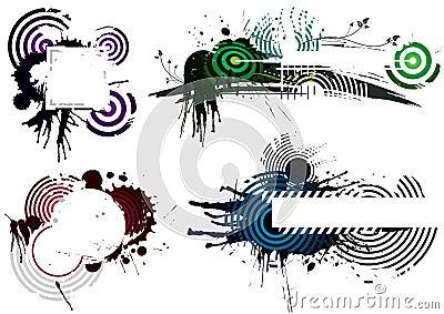 Cuatro diseños de Grunge