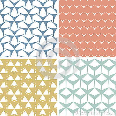 Cuatro inconsútiles rosados geométricos nerviosos abstractos