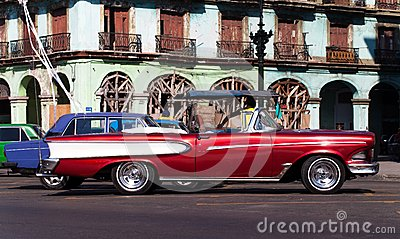 Cuba american Oldtimer in Havana City on the Road