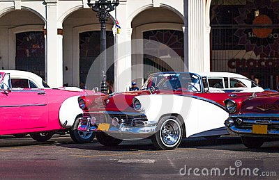 Cuba american Oldtimer on the Main street in Havanna Editorial Image