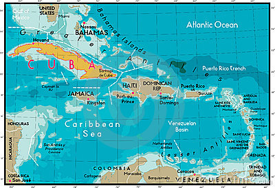 Cuba and Caribbean Sea.