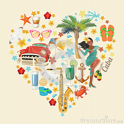 Free Cuba Travel Colorful Card Concept. Heart Shape. Vintage Style. Vector Illustration With Cuban Culture Royalty Free Stock Photo - 90222695